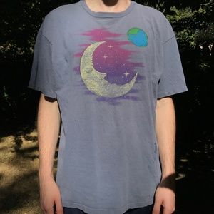 Other - Vintage Moon Stars Earth Graphic T-shirt Size XL